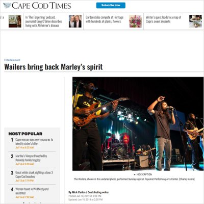 Cape Cod Times - Wailers rave review