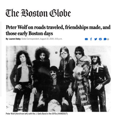Peter Wolf 'Early Days'  Boston Globe Feature